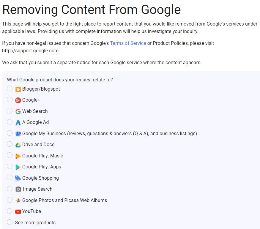 Google DMCA Form