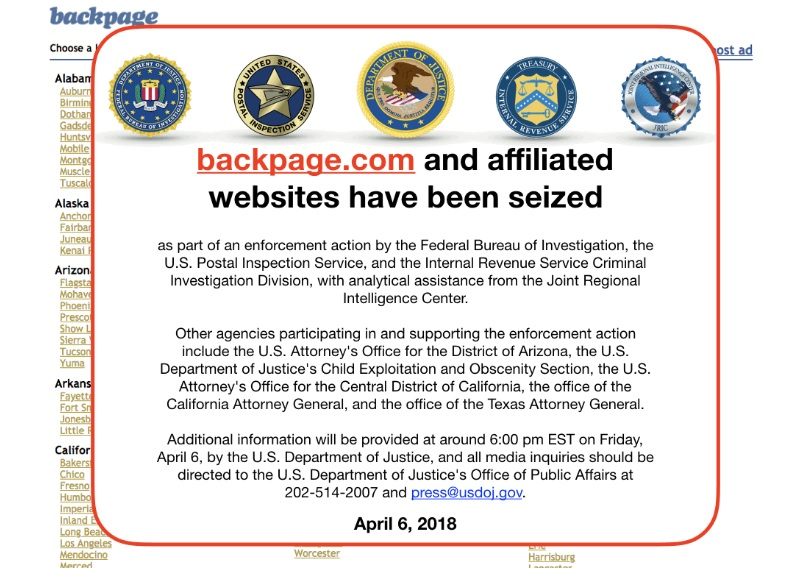 Backpage.com Seized by US Federal Government