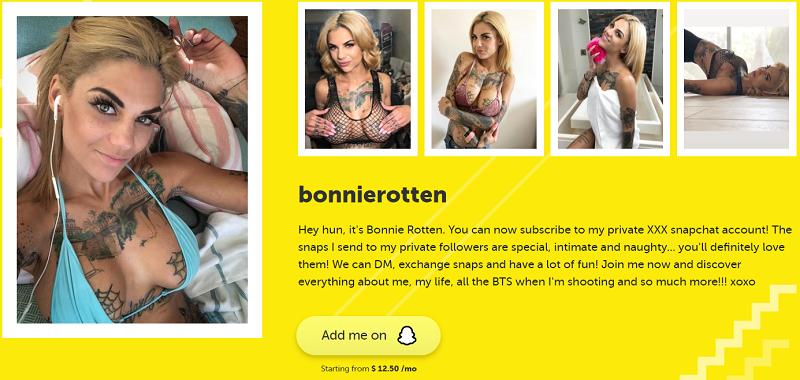 Bonnie Rotten Snapchat