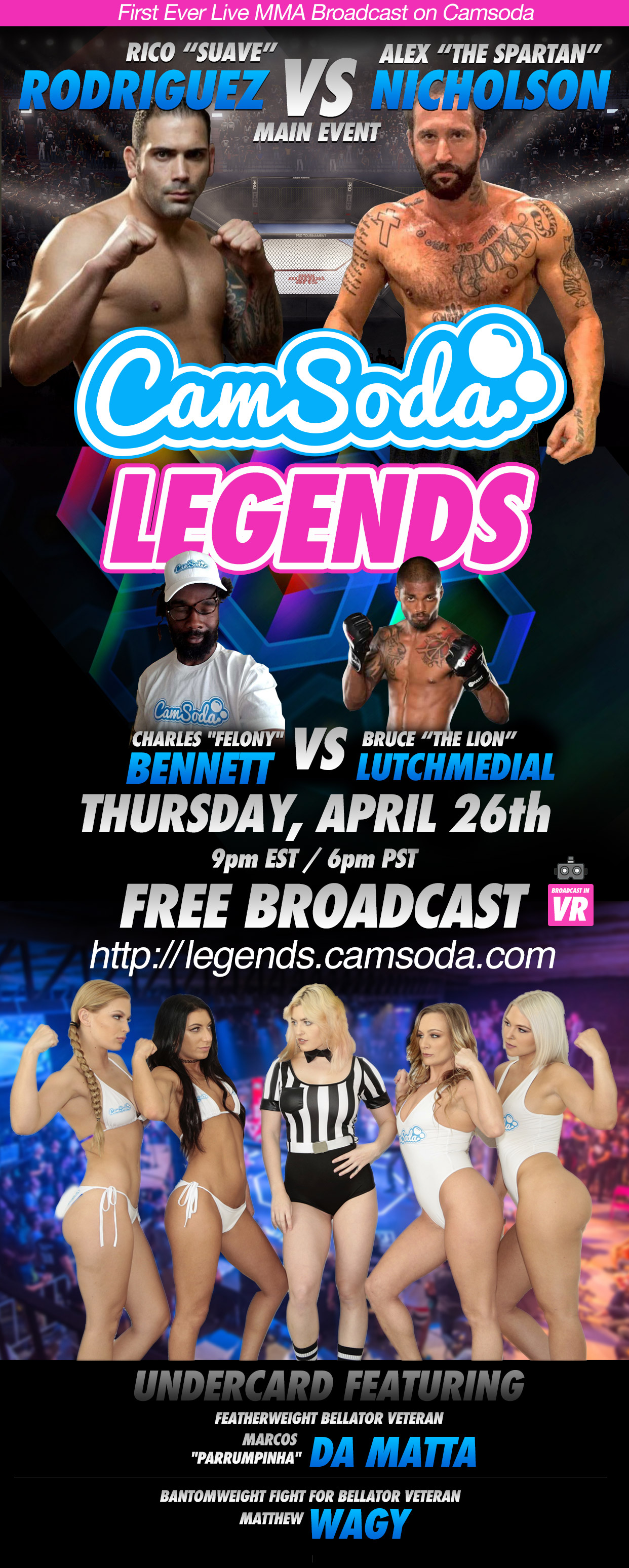 """CamSoda Legends"" - Live MMA Event: April 26th, 2018"