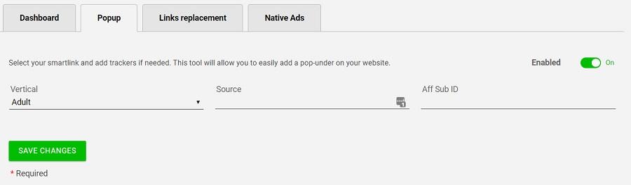 CrakRevenue WordPress Pop-Ads