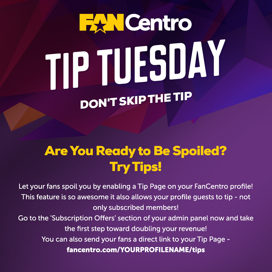 FanCentro Adds Tipping