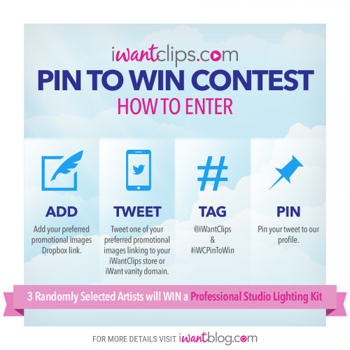 """iWantClips """"Pin to Win"""" Contest – Win A Studio Lighting Set!"""