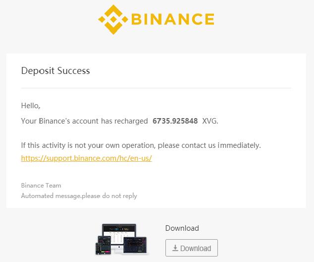 Binance Success Email