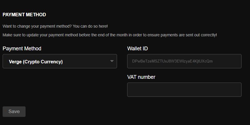 Configure Verge Payouts On Pornhub