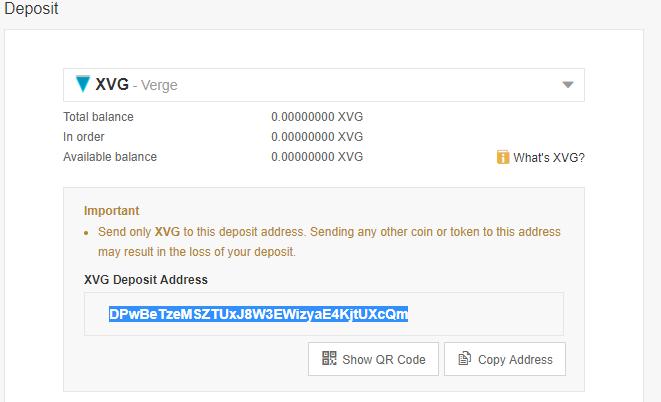 XVG Deposit