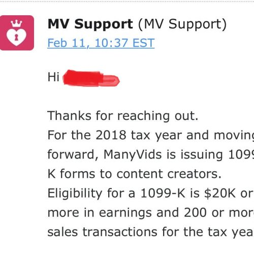 ManyVids Not 1099ing for MV Stars Making Under $20,000